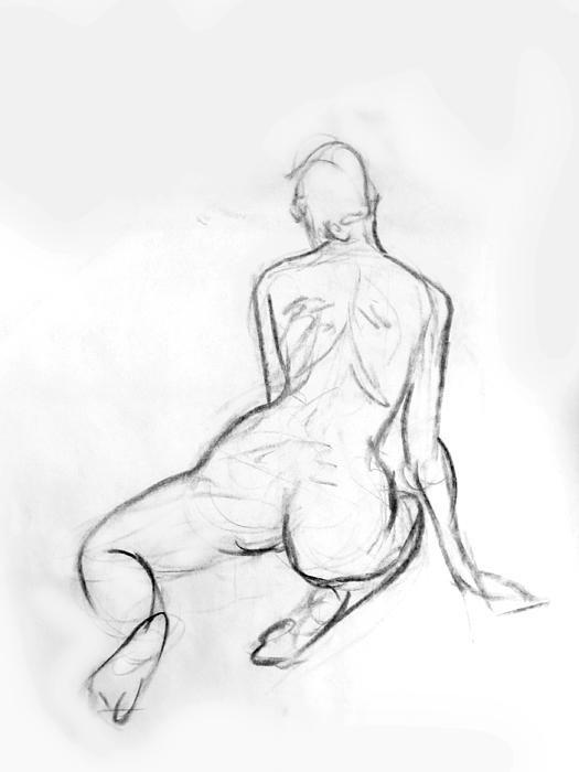 525x700 Kneeling Female Nude Art Charcoal Sketch, Sketch