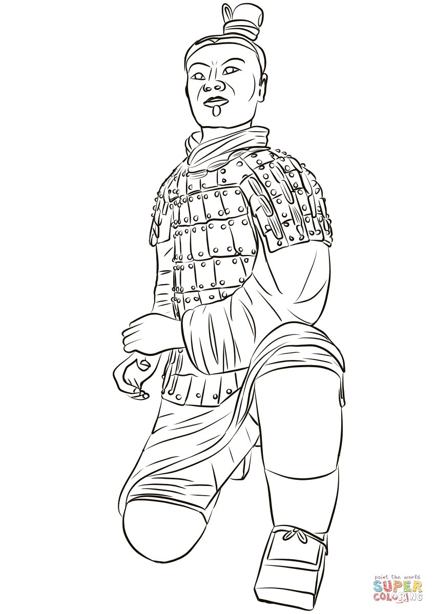847x1199 Terracotta Army Kneeling Archer Coloring Page Free Printable