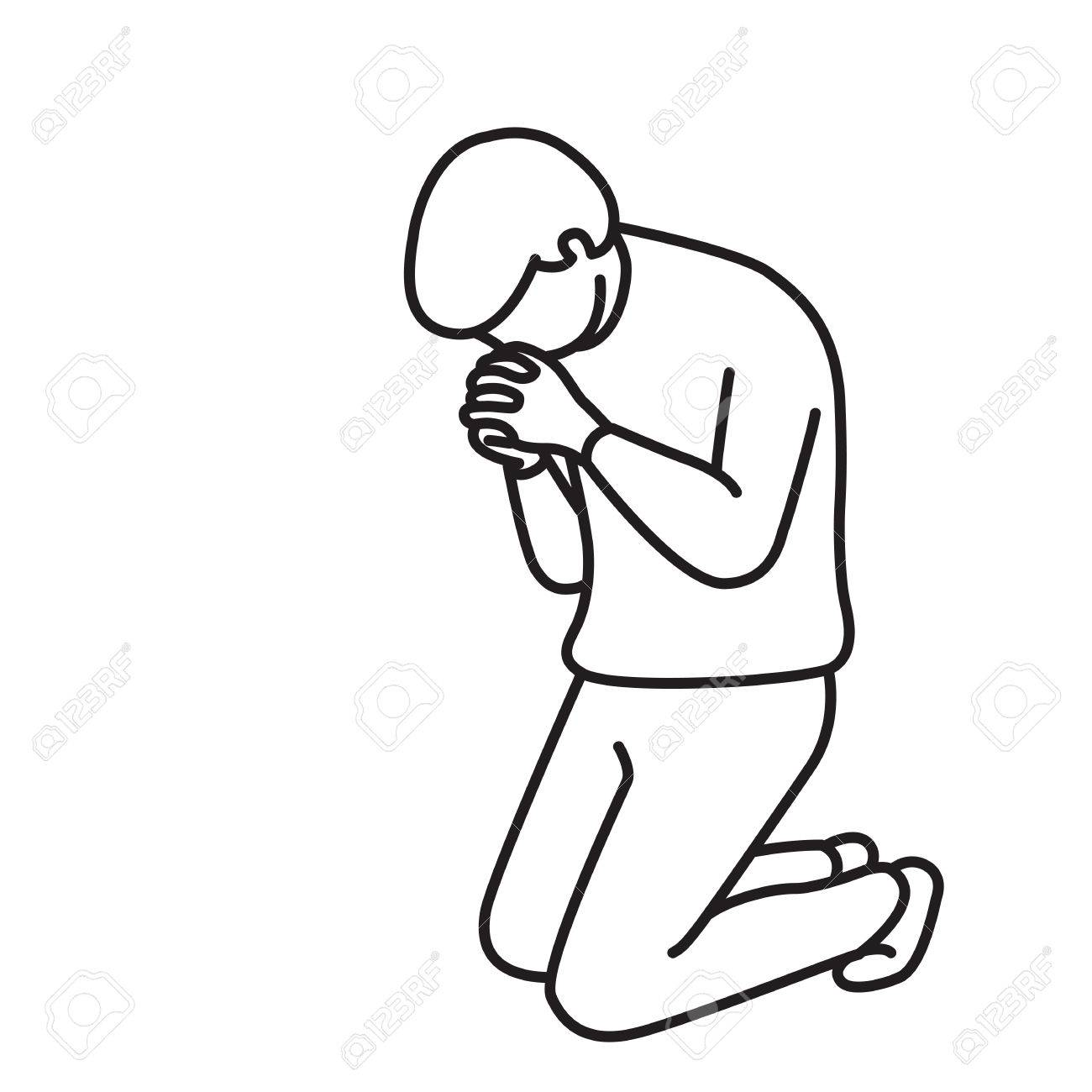 1300x1300 Vector Illustration Full Length Character Of Man, Kneeling Down