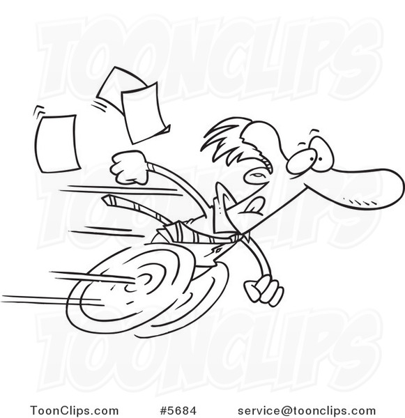 581x600 Cartoon Black And White Line Drawing Of A Fast Business Man