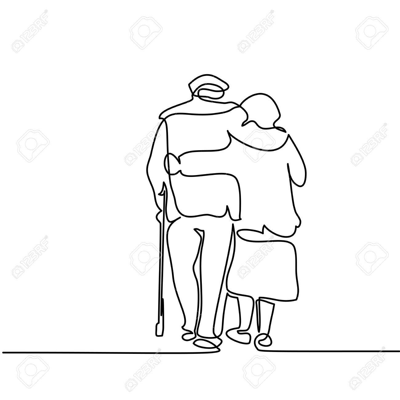 1300x1300 Continuous Line Drawing. Happy Elderly Couple Hugging And Walking