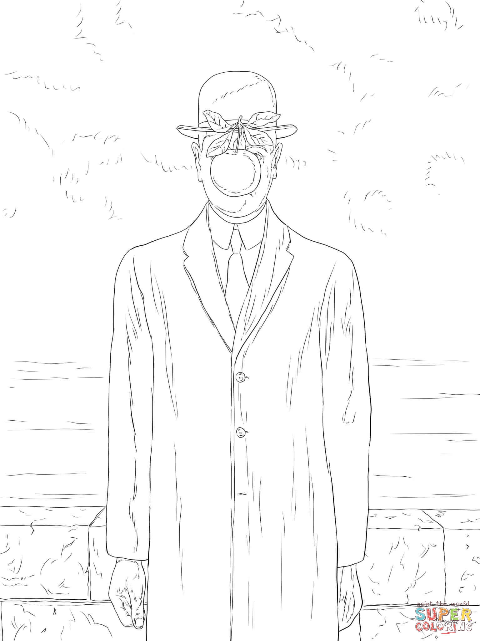 1536x2048 Son Of Man By Rene Magritte Coloring Page Free Printable