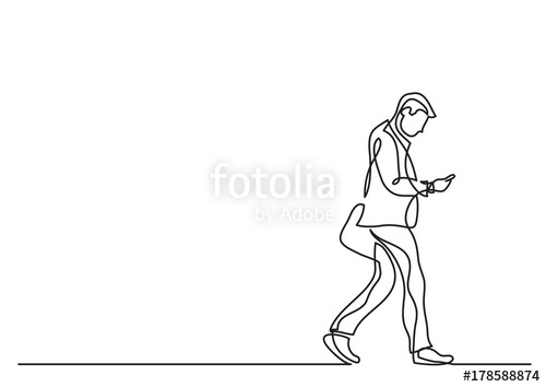 500x354 One Line Drawing Of Man Walking With A Phone Stock Image