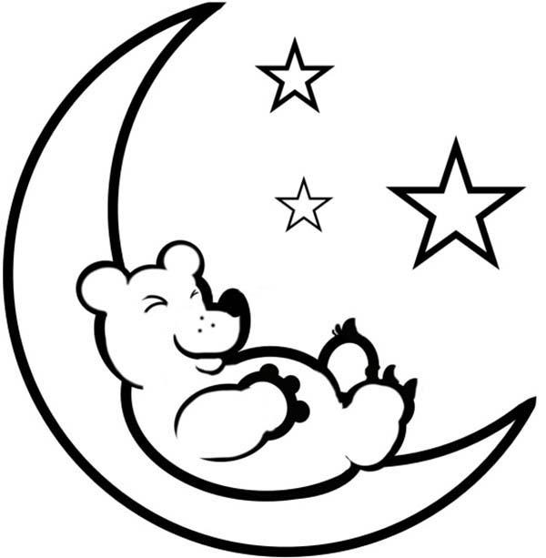 600x613 Teddy Bear Sleep On The Moon Coloring Page Sky