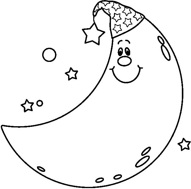 625x617 The Man On Moon Coloring Page And Stars Pages For