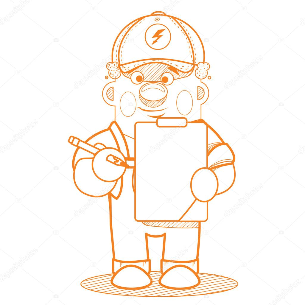 1024x1024 A Man In Uniform Working With A Tablet. Outline Drawing. Stock