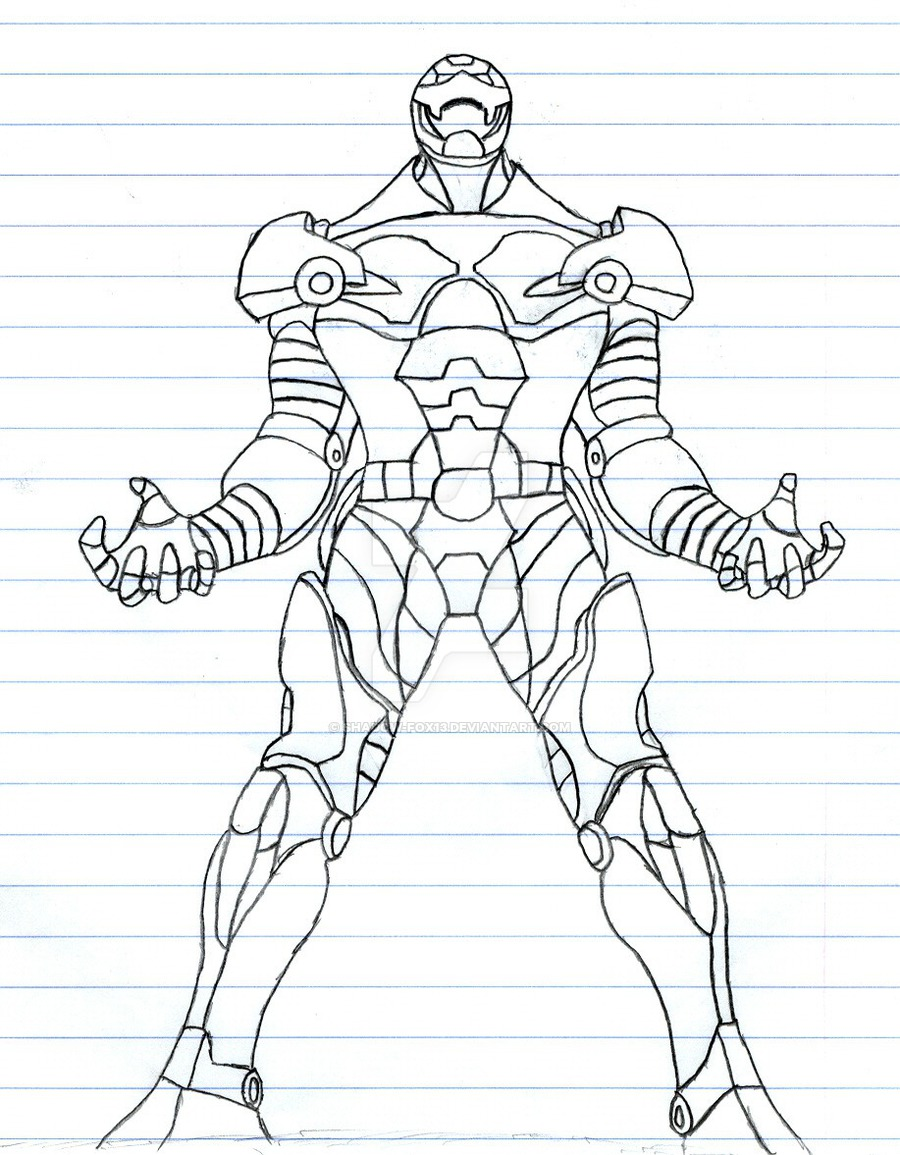900x1155 Iron Man Rough Outline By Shadow Fox13