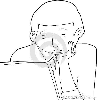 400x413 Lovely Cartoon Man Outline Outline Drawing Of Bored Man Stock