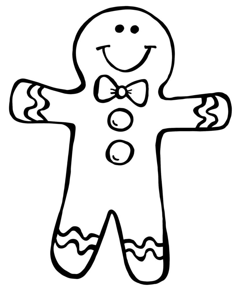 840x1024 Gingerbread Man Outline Drawing