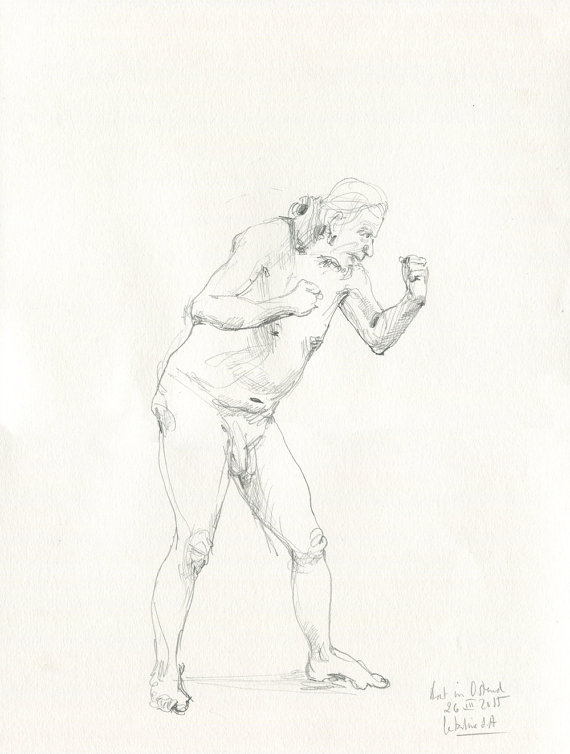 570x754 Male Nude Pencil Drawing Original Pencil Drawing Male Nude