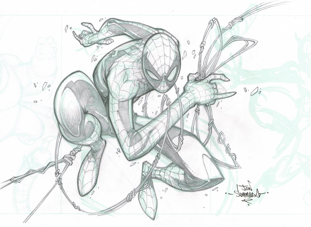 1030x750 Original Art Spider Man Pencil Sketch The Red J Art Store