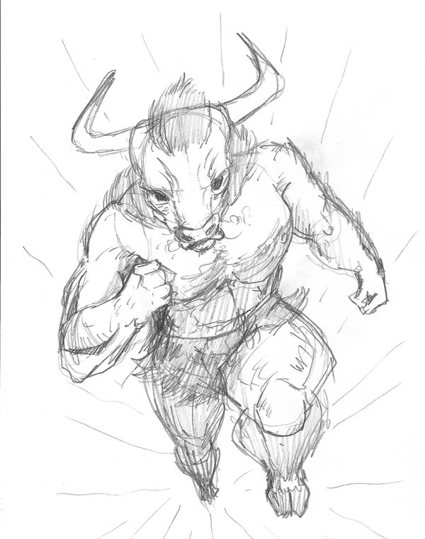 600x762 Bull Man Pencil Sketch By Peterhammerson