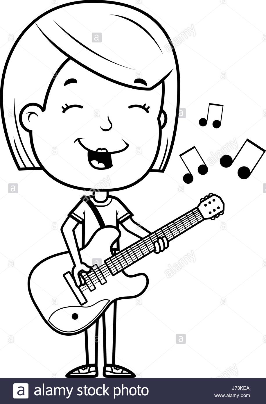 916x1390 A Cartoon Illustration Of A Teenage Girl Playing An Electric