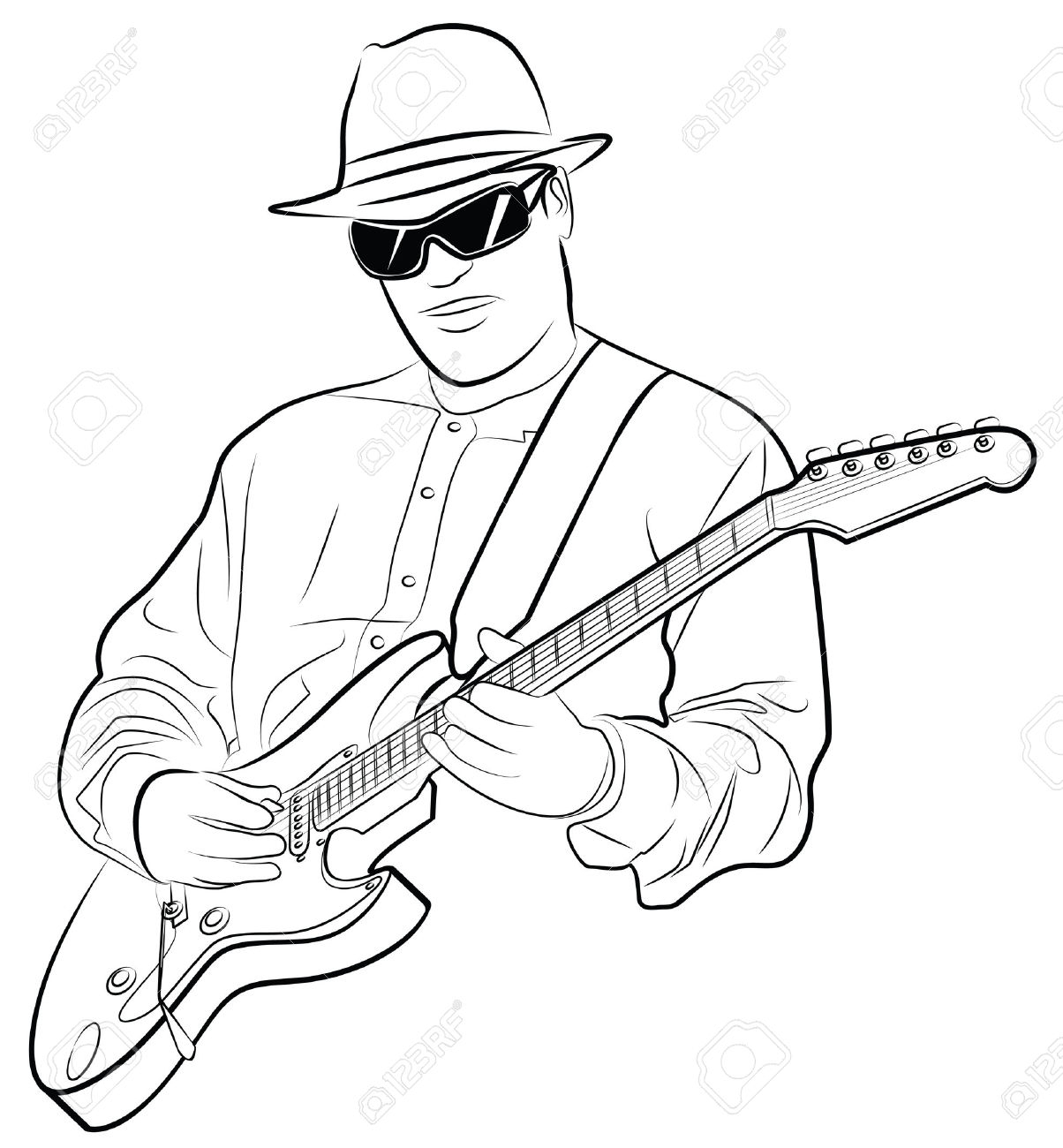 1204x1300 Man Playing Guitar Drawing Vector Illustration Of A Man Playing
