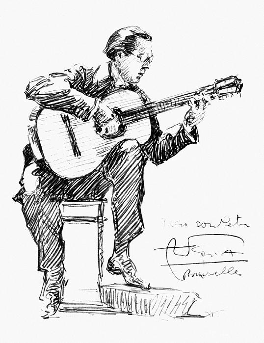 538x699 Man Playing Guitar Drawings Fine Art America