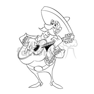 300x300 Royalty Free Black And White Image Of Man Playing Guitar Mariachi