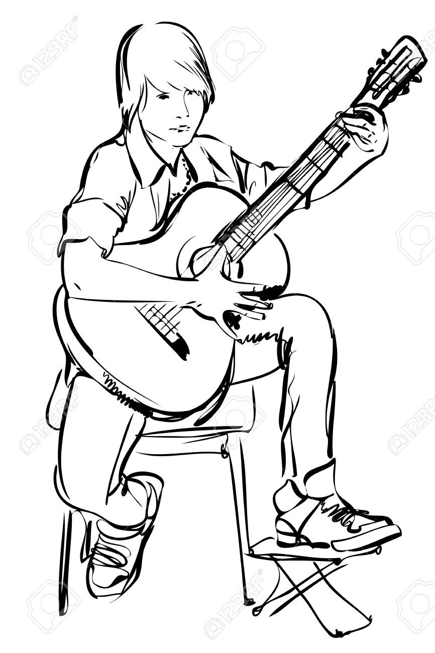 866x1300 Sketch Of Boy Playing On The Guitar On White Background Royalty