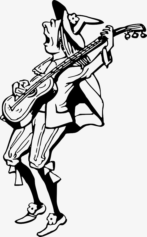 622x1000 Sketch Of Man Playing Guitar, Play, Performance Png Image For Free