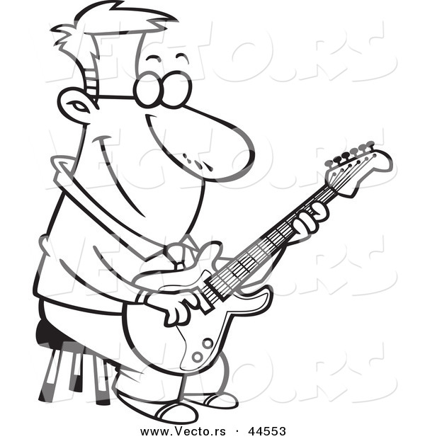 600x620 Vector Of A Happy Cartoon Man Playing A Guitar On A Stool