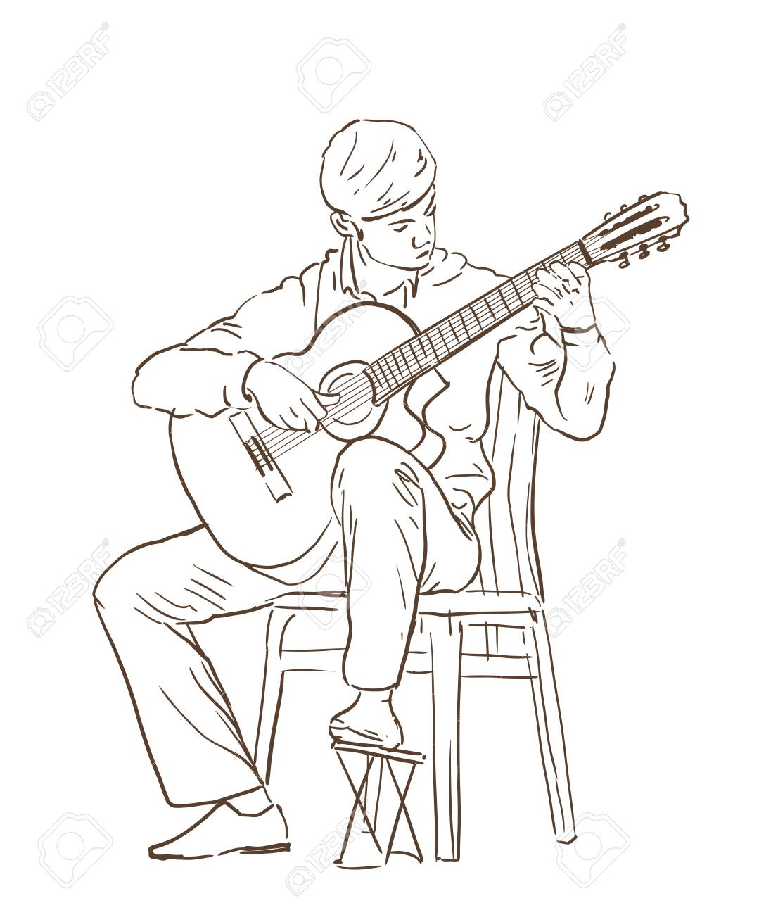 1106x1300 Young Man Playing Classical Cutaway Guitar Sitting On A Chair