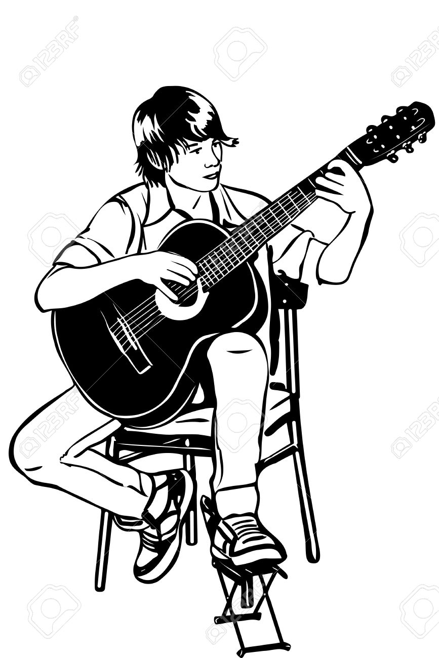 867x1300 Black And White Sketch Of A Young Man Sitting On The Acoustic