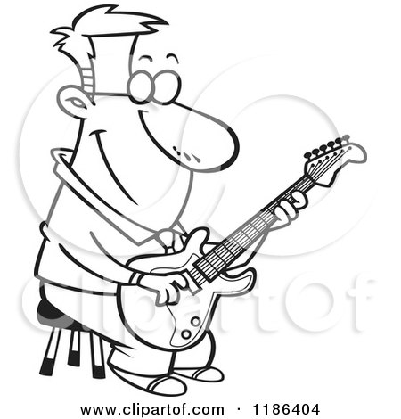 450x470 Cartoon Of A Black And White Happy Man Playing A Guitar On A Stool