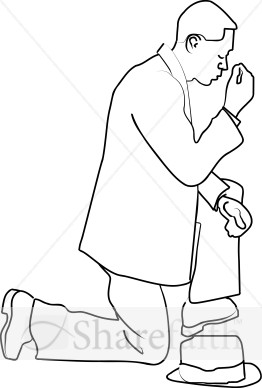 262x388 Man On A Knee In Prayer Prayer Clipart