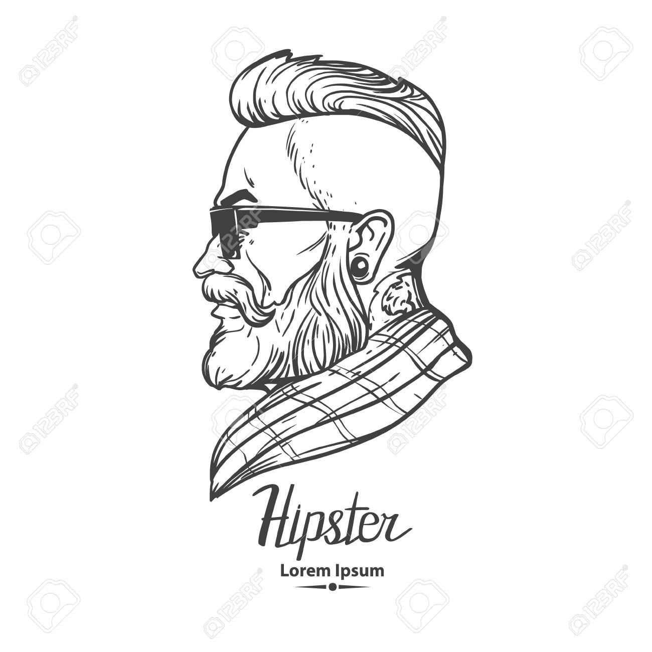 1300x1300 Hipster Label Badge Simple Iilustration, Man, Profile View Royalty