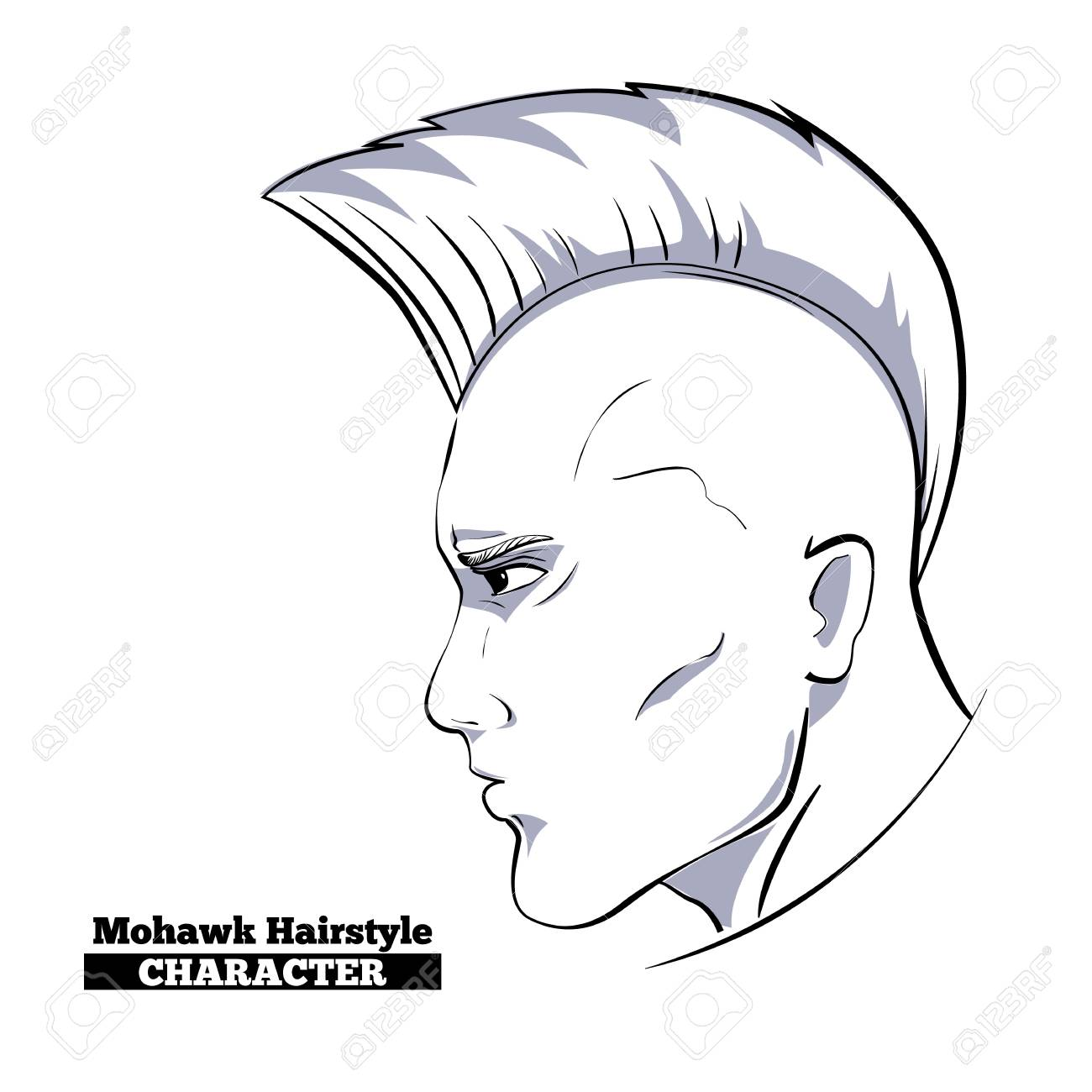 1300x1300 Mohawk Hairstyle Character,hand Drawn Style Sketch.profile View