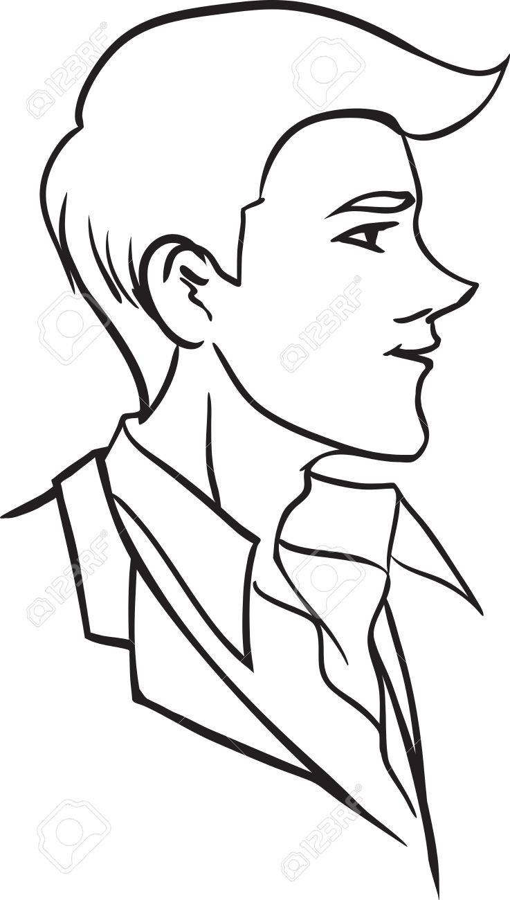 737x1300 The Vector Picture Of Stylish Young Man At Profile. Monochrome