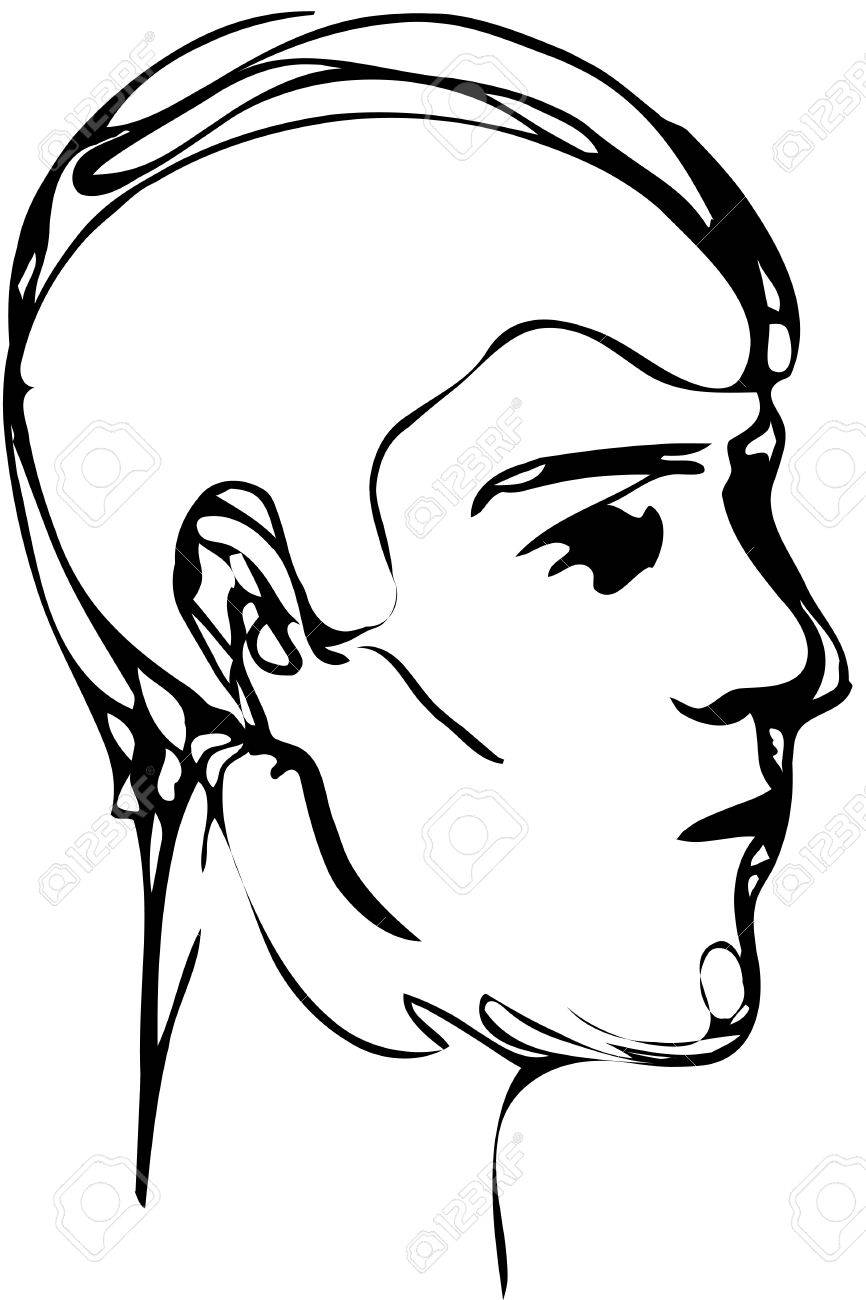 866x1300 Black And White Vector Sketch Of A Young Man Profile Royalty Free