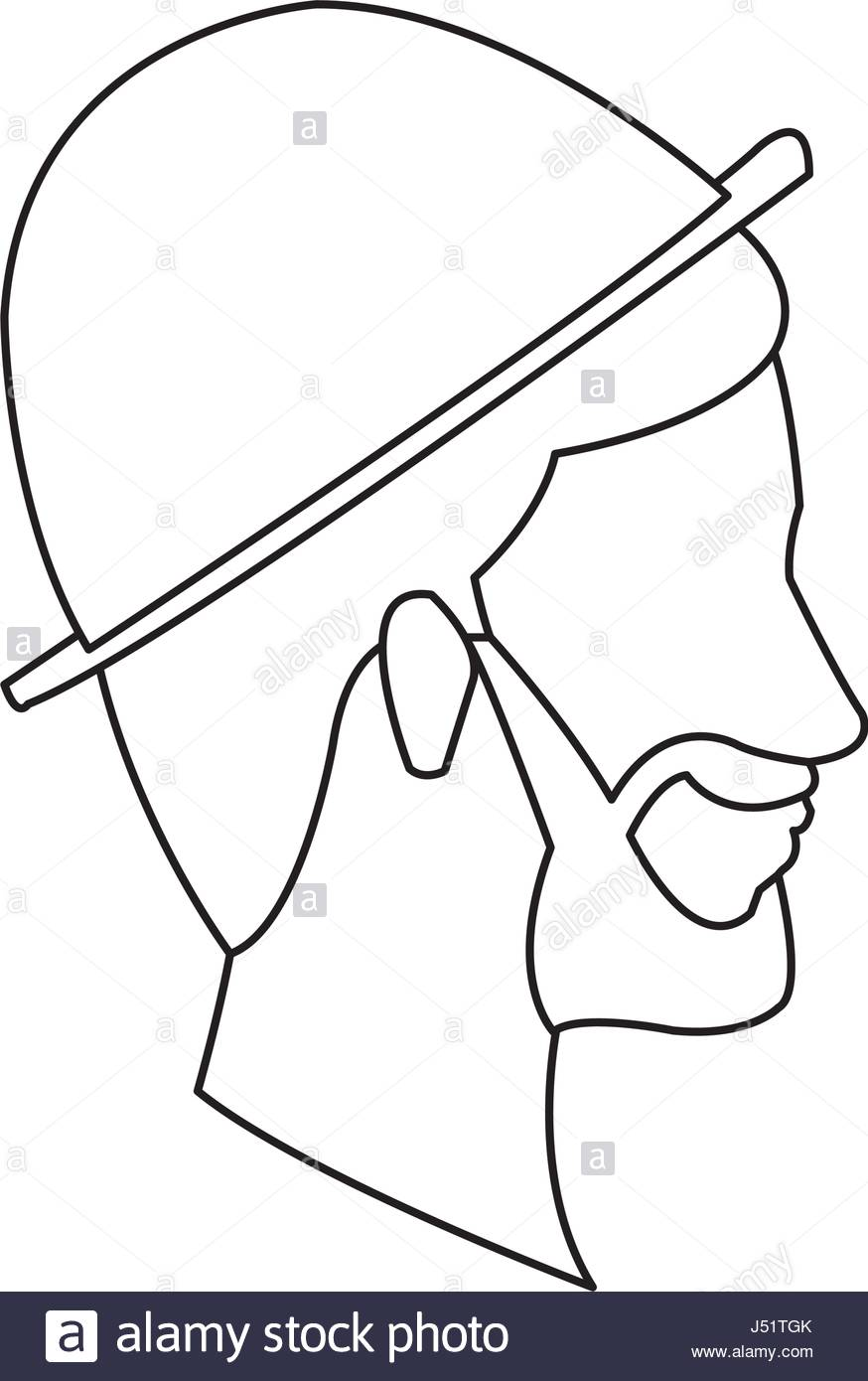 874x1390 Bearded Head Man Profile With Hat Outline Stock Vector Art