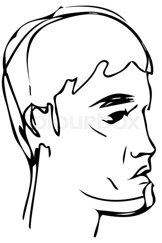 533x800 Black And White Vector Sketch Of A Young Man Profile Stock