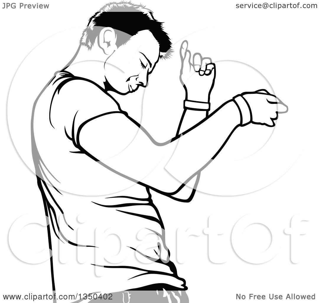 1080x1024 Clipart Of A Black And White Dancing Young Man In Profile