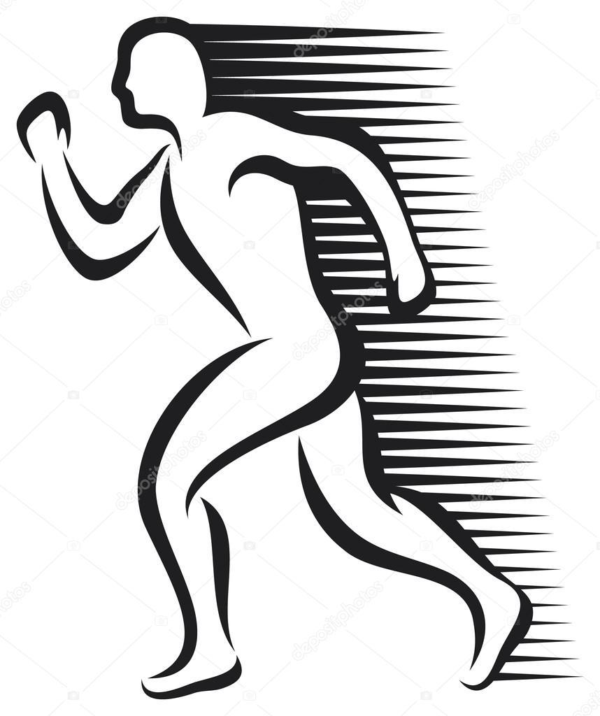 858x1024 Abstract Runner (Marathon Runner, Running Sportsman, Athletic Man