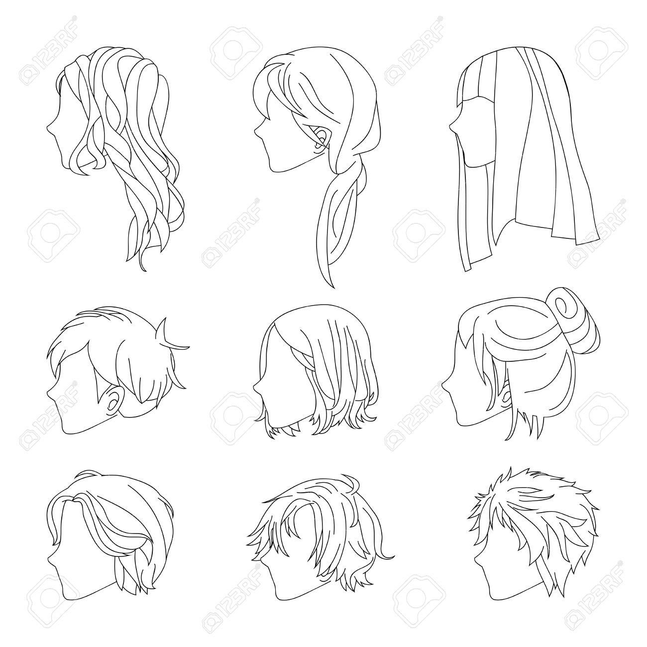 1300x1300 Collection Hairstyle Side View For Man And Woman Hair Drawing