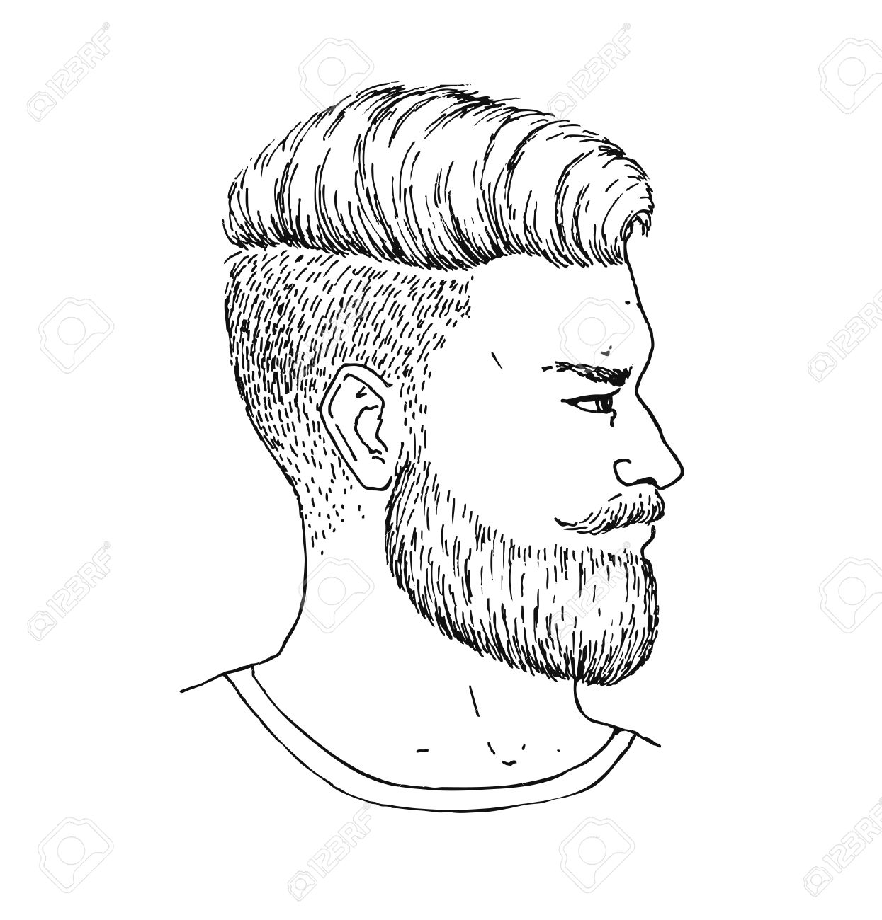 1245x1300 Vector Hand Drawn Adult Man With Beard And Mustage Side Portrait
