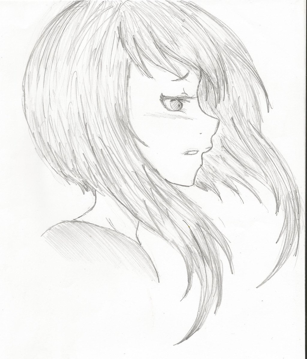 1024x1195 Girl Side Face Draw Drawing