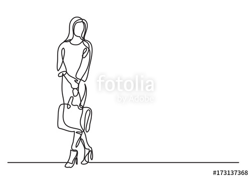 500x354 Continuous Line Drawing Of Standing Woman With Handbag Stock