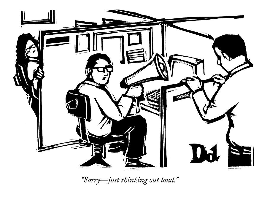 900x664 A Man Is Seated In His Cubicle With A Megaphone Drawing By Drew