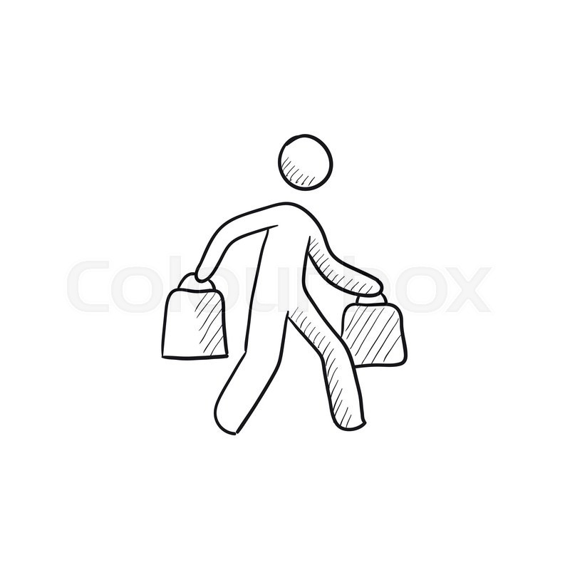 800x800 Man Carrying Shopping Bags Vector Sketch Icon Isolated