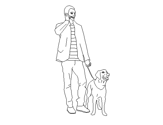 531x407 A Man Walking With Dog Cad Block