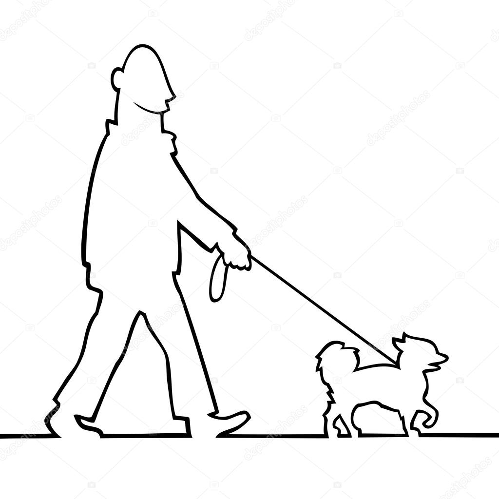 1024x1024 Man Walking The Dog Stock Vector Noedelhap