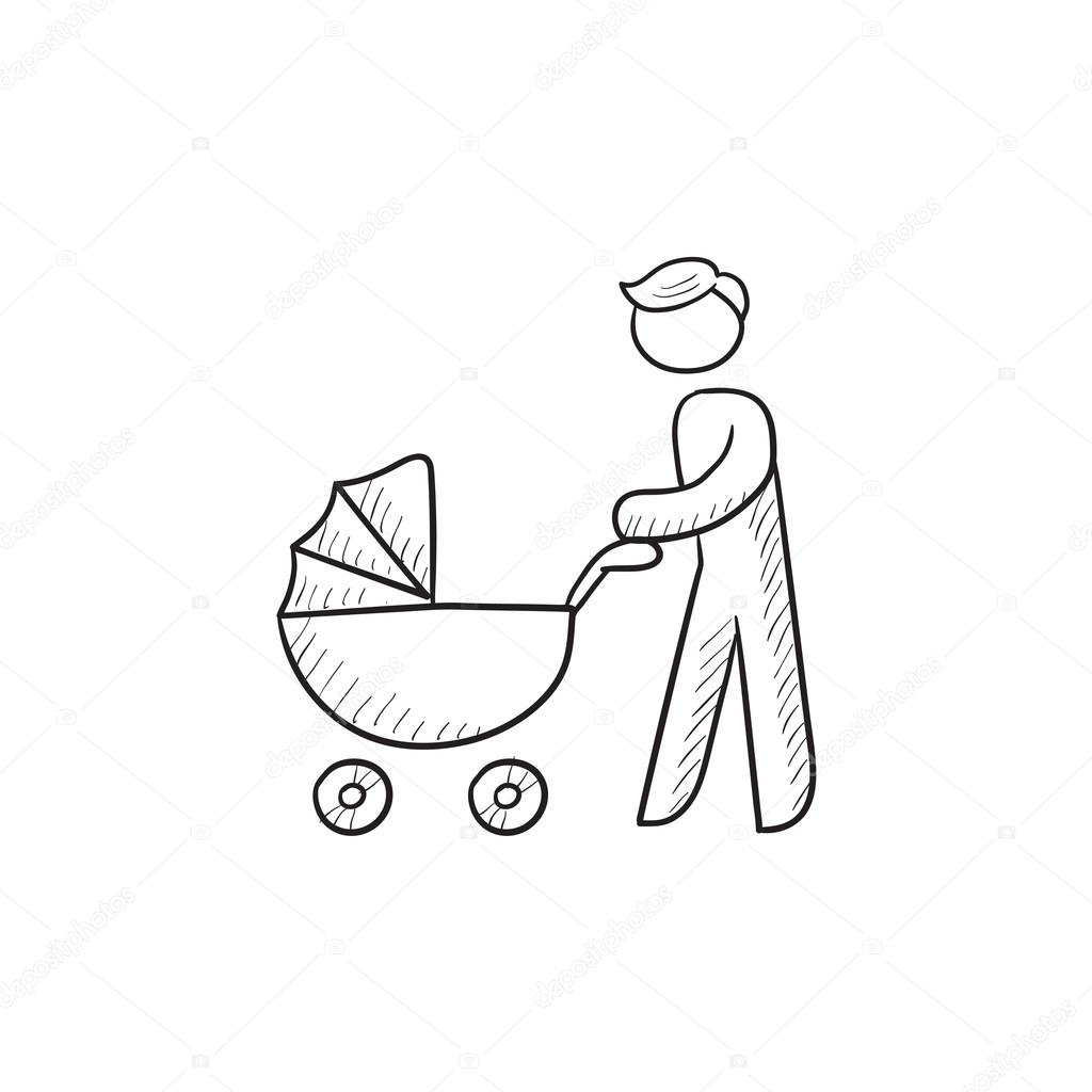 1024x1024 Man Walking With Baby Stroller Sketch Icon. Stock Vector