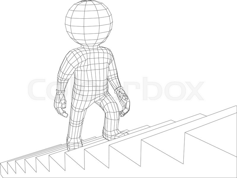 800x602 Puppet 3d Man Walking Up Stairs Isolated On White Background, Side