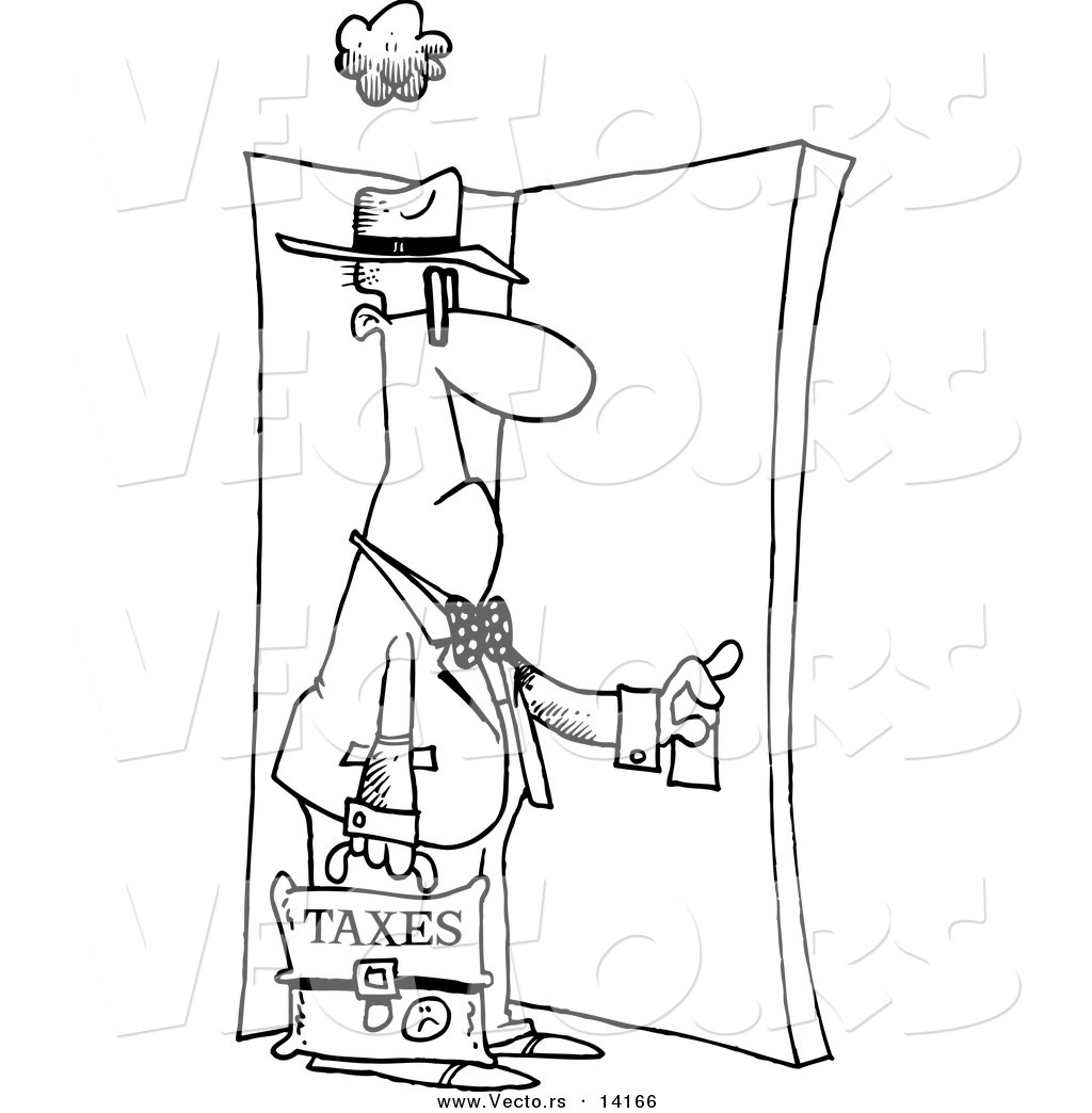 1024x1044 Vector Of A Cartoon Tax Man Walking Through A Door