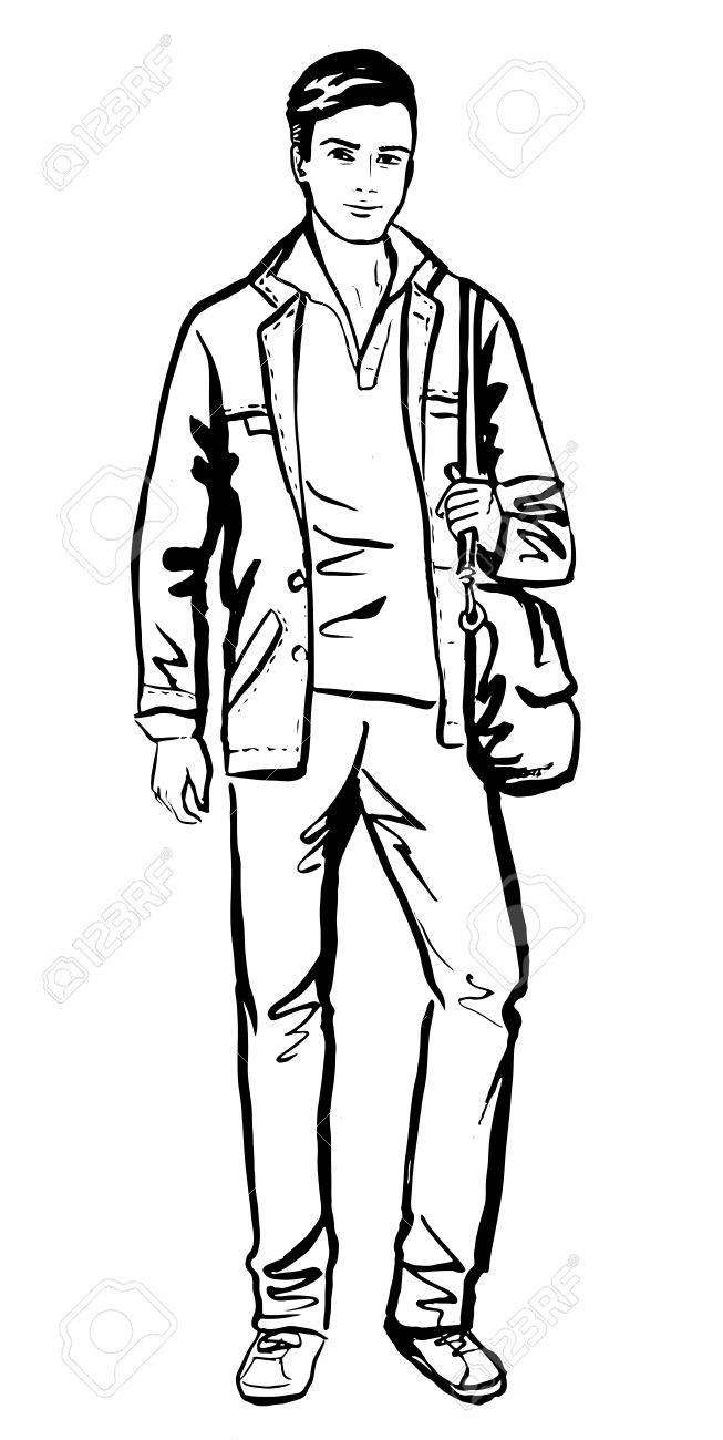 653x1300 Fashion Sketch Of Man Walking On Street Royalty Free Cliparts