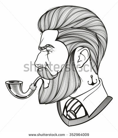 401x470 Hand Drawn Portrait Of Bearded Man With Pipe Side View Forty