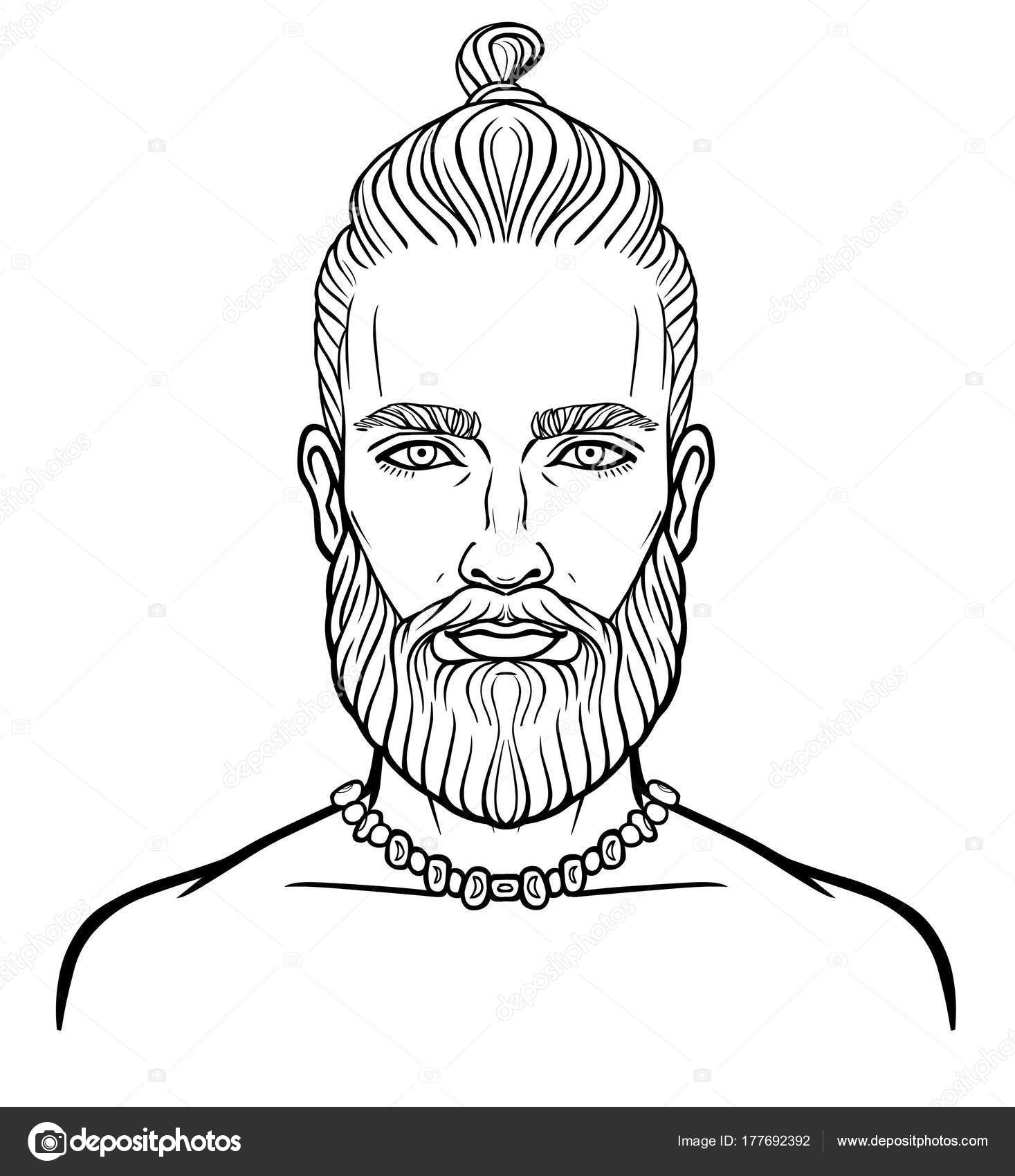 1467x1700 Animation Portrait Young Attractive Bearded Man Stylish Hairstyle