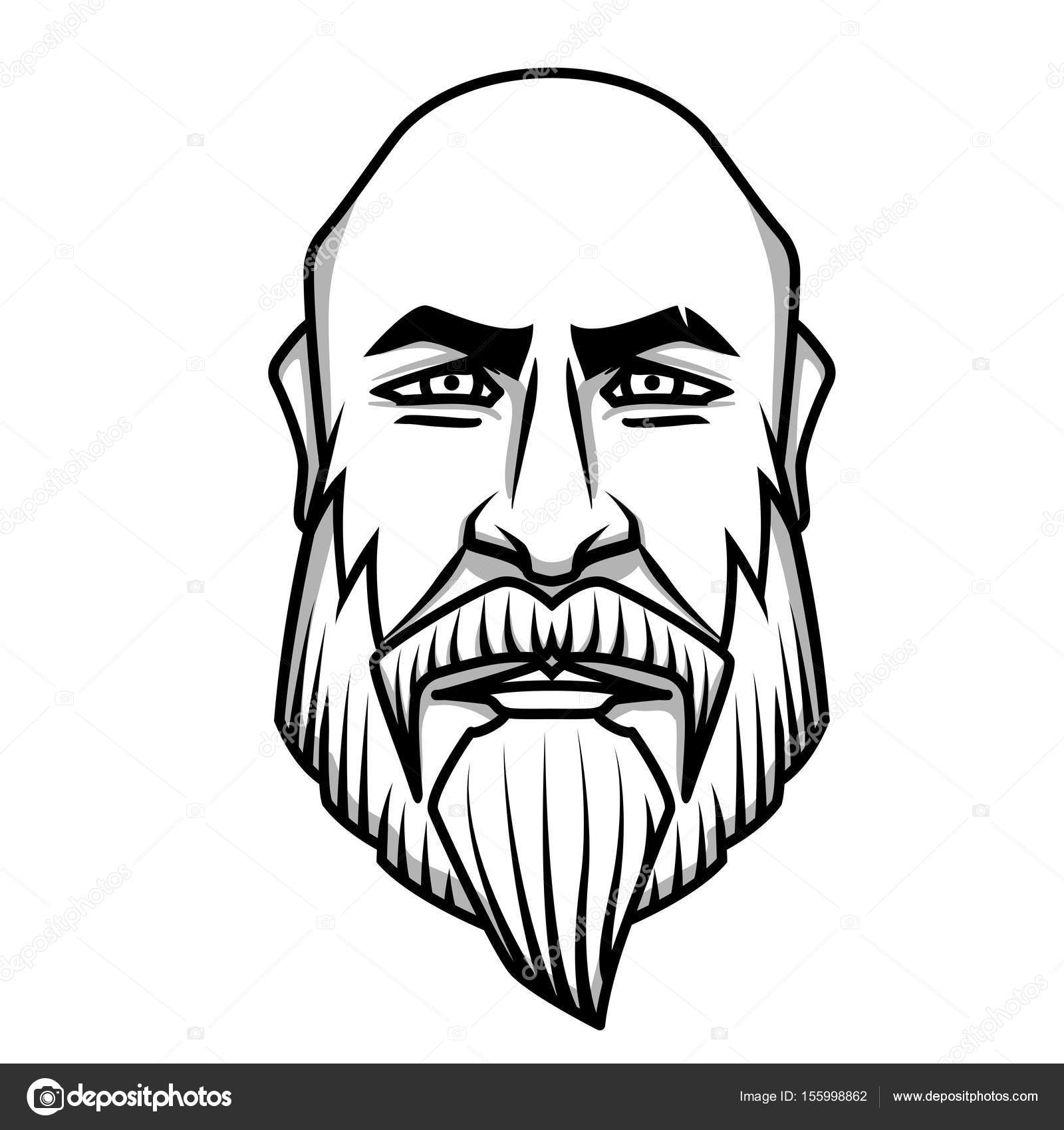 1600x1700 Severe Looking Bald Man With Mustache And Beard Stock Vector